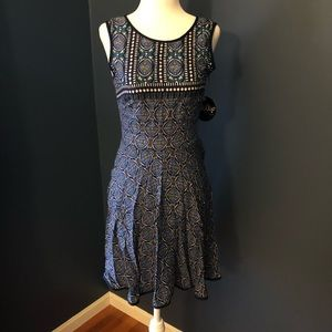 NWT Blue Printed Tank Fit and Flare Dress